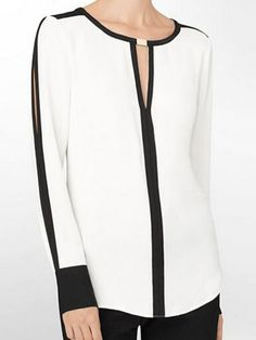 Buy Round Neck Color Block Hollow Out Blouses online with cheap prices and discover fashion Blouses at Fashionmia.com.