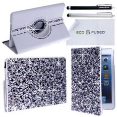 Amazon.com: iPad Mini Case Bundle including 1 Rotating Leather Case with Rhinestones / 2 Stylus Pens / 2 Screen Protectors / 1 ECO-FUSED Microfiber Cleaning Cloth - Sparkling Bling Detail, A Perfeect Case for Girls (Grey): Computers & Accessories