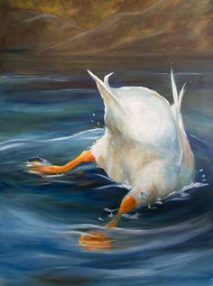 Mary Sparrow Smith from Hanging the Moon – portrait, paintings, gift ideas, home decor, duck butt, ocean, swim