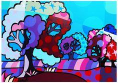 kleurrijk schilderij, kleurrijke schilderijen, vrolijk schilderij, popart, paars