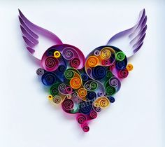 Fly high - winged heart,Fly high,colourful framed paper heart, by PaperSplash on Etsy Arte Quilling, Paper Quilling Patterns, Quilling Paper Craft, Origami, Quiling Paper Art, Decoration Cactus, Quilled Creations, Christmas Crafts To Make, Quilling Tutorial