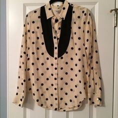 NWT Broadway & Broome polka dot tuxedo button-down Broadway & Broome for Madewell, adorable tuxedo button down is lightweight and comfortable, perfect under a sweater or blazer, with a pencil skirt, or jeans for a casual look. Brand new. Madewell Tops Button Down Shirts