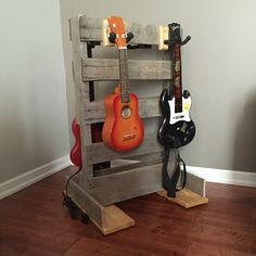 Pallet Guitar Ukulele Stand for Kids DIY - also works for guitar hero or rock band guitars