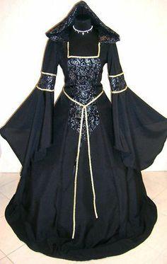 MEDIEVAL DRESS VICTORIAN GOTH S-M 10-12-14 COSTUME VAMPIRE ROBE ABITO CARNEVALE