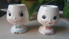 Rare Japanese Egg Cups His and Hers Cute Kitschy Kitchen
