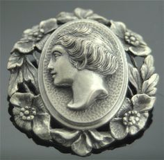 Victorian Cameo - Handmade Victorian Sterling Silver Cameo Brooch