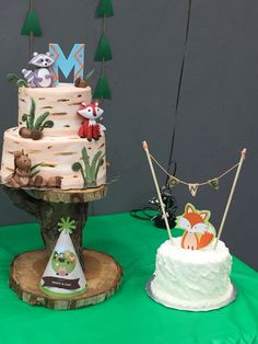 Birthday cake and smash cake for forest friends birthday party