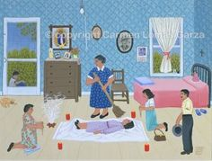 Carmen Lomas Garza Barriendo de Susto - gouache on cotton paper, 14 x 18 inches. This image is available for commission as an oil painting. Visual Thinking Strategies, Brown Pride, Ap Spanish, Mexican American, American Artists, Gouache, Wicca, Pagan, Childhood Memories