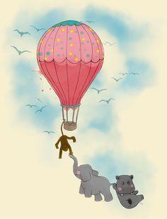 Animais, elefante, hipopotamo, macaco, voando, balão, arte digital, ilustração, aventura, amigos, passaros, ceu, crianças, infantil, natureza