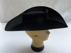 Amazing Tex-Style Vintage late 1950s Cowboy Cowgirl Hat. Black felt. Small. Size approx. 6 3/4  Low crown Wide high roll brim. Western Cowgirl Hats, Cowboy And Cowgirl, Vintage Western Wear, Western Style, Cowboys Helmet, Black Cowboy Hat, Helmet Covers, Black Felt, Black Ribbon