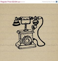70% OFF SALE Vintage Telephone KM1920 Digital by GraphicDreamz