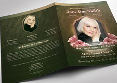 Red Gold Dignity Funeral Program Publisher Template is created in ...