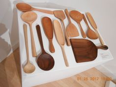 Wooden Spoons on display at Center for Furniture Craftmanship by Karina Steele http://www.woodschool.org/61-messler-gallery/exhibitions/783-alumni-fellows-exhibition