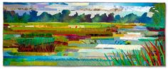 """Marsh #18: Sunny Day, by Sue Brenner (2006).  - 14"""" x 63"""", dye and paint on silk and cotton, found fabrics, fused, machine quilted."""