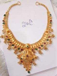 Gold Necklace Simple, Gold Jewelry Simple, Gold Wedding Jewelry, Bridal Jewellery, Gold Jewellery, Gold Mangalsutra Designs, Gold Choker, My Escape, Embroidered Blouse