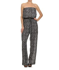 This Kokette Black Baroque Strapless Jumpsuit by Kokette is perfect! #zulilyfinds