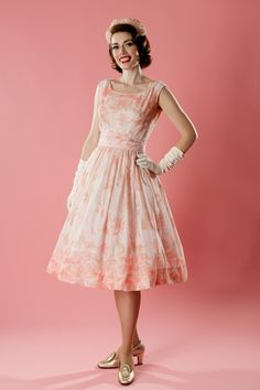 Vintage 1950s Pink Wedding Dress Jerry Gilden Spring Fashions Union Made