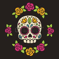 Mexican sugar skull with flowers. Dia de los Muertos, or Day of the Dead. photo