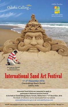 international sand art festival 2016 at chandrabhaga beach,konark,odisha,india from - december 2106 Art Festival, Festival 2016, Bobe, Sand Art, Album Songs, Serenity, Beach Mat, Tourism, Outdoor Blanket