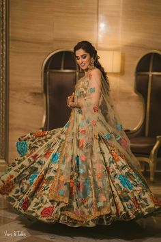 Unique patterned offbeat lehenga choli for this wedding season is being preferred over red. Choose a lehenga that makes everyone's hearts flutter. Multicolored lehenga to slay your bridal look this season. Designer Bridal Lehenga, Indian Bridal Lehenga, Indian Bridal Outfits, Indian Bridal Fashion, Indian Bridal Wear, Pakistani Bridal Dresses, Indian Gowns Dresses, Indian Fashion Dresses, Dress Indian Style