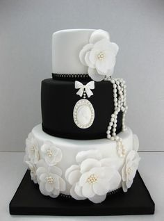 Black and white cameo wedding cake