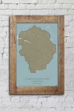 Yosemite National Park Map with Reclaimed Wood Frame  |  Muir Way