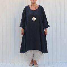 47fe5fb779 Womens Lagenlook Heavy Linen Dress with Pockets Navy Blue  lagenlook   navylinen  linendress