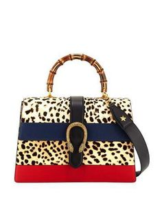 bc68eb5513 Gucci Dionysus Large Bamboo Top-Handle Bag in Leopard Calf Hair Guccio  Gucci