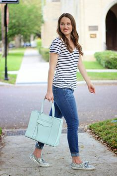 Kelly Elizabeth Style: Weekend Vibes - black and white striped tee: Nordstrom; jeans: Verdudo Ankle by Paige Denim; light turquoise bag: MAB by Rebecca Minkoff; silver glitter shoes: Kate Spade for Keds; lipstick: Pink Peony by Tarte Cosmetics; nail color: Fiji by Essie