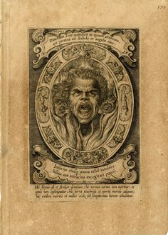 Servitus Diaboli. Head of a man screaming, burning in Hell, demons beyond; in an oval surrounded by demonic creatures and souls falling down; unsigned Engraving, 1610-20. Print made by Egbert van Panderen.