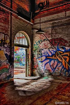 Abandoned building, New York City, USA. #nyc #graffiti #building #architecture #portals #doors #doorways #arches #archways