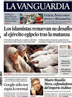 Los Titulares y Portadas de Noticias Destacadas Españolas del 16 de Agosto de 2013 del Diario La Vanguadia ¿Que le pareció esta Portada de este Diario Español?