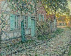 Henri le Sidaner (French, 1862-1939). Les roses sur la maison. 1917.