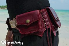 """Unique Leather Utility Hip Belt in 2XL or 44"""" waist, Example: """"LAWAH"""" - SEXY RED // leather belt with pockets. (S,M,L only) $120.00"""
