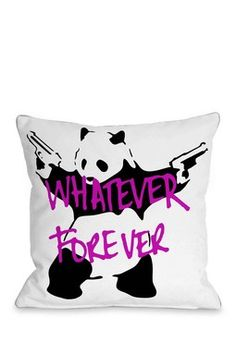 Panda Whatever Forever Pillow - White/Pink lol omg how cute