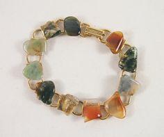 Vintage 60s70s Agate Stone Gold Tone Bracelet Jewelry