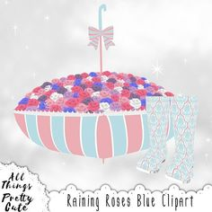 Spring Clipart Raining Roses Blue Set, commercial use clipart, rain boots, rainboots, umbrella, spring baby shower, rain boots stickers Baby Shower Clipart, Purple Roses, Pretty And Cute, Nursery Decor, Rain Boots, Christmas Bulbs, Commercial, Clip Art, Shabby Chic