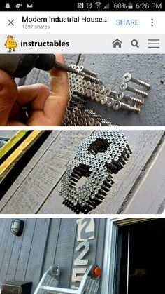 Wood screw house numbers. Maybe screw into a piece of wood for wording on the wall, love, home, etc.