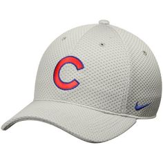 6ec50133126 Men s Chicago Cubs Nike Gray Mesh Logo Performance Adjustable Hat