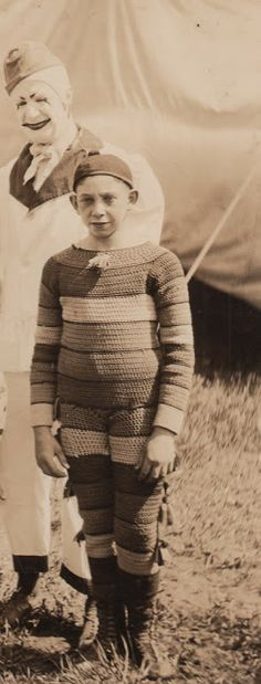 Anonymous Clown in Knitted Costume 1922 (Detail) Original Photograph collection Jim Linderman