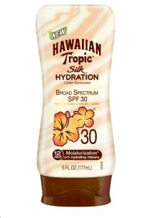 Available in a range of SPFs (12-50), Hawaiian TropicSilk Hydration™ sunscreen offers exceptional, broad-spectrum sun protection from UVA and UVB rays. The silky smooth lotion (that provides 12-hour moisturization) and it's tropical scent leave you feeling like lounging by the pool on a warm summer day.