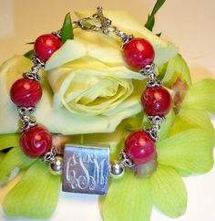 Monogrammed FLOWER BEAD bracelet- made with your flowers - she takes your flowers, dries them & turns them into beads (and other goodies) - we can even use our monogram to make awesome jewelry to save our colors forever