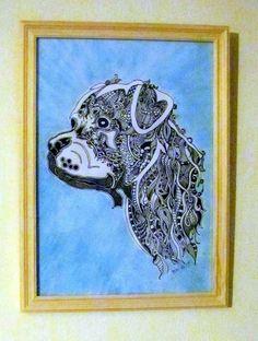 """ZenZia  BILD """"Rotweiler"""" - made by BRI - ORIGINAL von BRIsART - Design  auf DaWanda.com Illustration, Lion Sculpture, Statue, Etsy, The Originals, Shop, Design, Art, White Paper"""