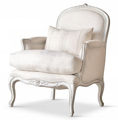 La Belle French Country Style Oyster White Fog Linen Arm Chair - transitional - Armchairs And Accent Chairs - Kathy Kuo Home Sunroom Furniture, Farmhouse Furniture, Living Room Furniture, Home Furniture, Painted Furniture, Eclectic Chairs, Eclectic Furniture, Shabby Chic Furniture, Comfortable Living Room Chairs