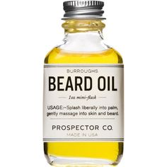 Prospector Co. Men's Burroughs Beard Oil ($28) ❤ liked on Polyvore featuring men's fashion, men's grooming, colorless, mens grooming and men's cologne