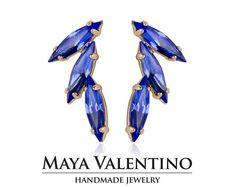 Sapphire earring, 14K Gold earring, Small earring, Minimalist earring, Estate earring, Bridesmaid earring, Prom earring, Swarovski earring