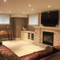 Contemporary Basement Window Treatments Design, Pictures, Remodel, Decor and Ideas I like the treatments on the window for our basement windows. Family Room Design, Home, New Homes, House, Basement Window Treatments, Basement Decor, Basement Design, Basement Fireplace, Basement Windows