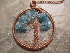 Tree of Life Wire Wrapped Pendant & Necklace in Apatite and Recycled Copper, Wirewrapped Wire-Wrapped Handmade. $29.95, via Etsy.