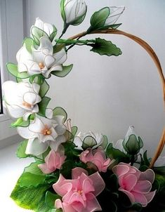Discover thousands of images about Stocking flower - CraftIdea. Nylon Flowers, Tissue Flowers, Cloth Flowers, Big Flowers, Fabric Flowers, Paper Flowers, Paper Flower Wreaths, Flower Crafts, Nylon Crafts