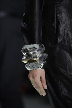 Azza Fahmy for Preen Catwalk-  Silver Gold Hand Pierced Multi Faceted Bangles